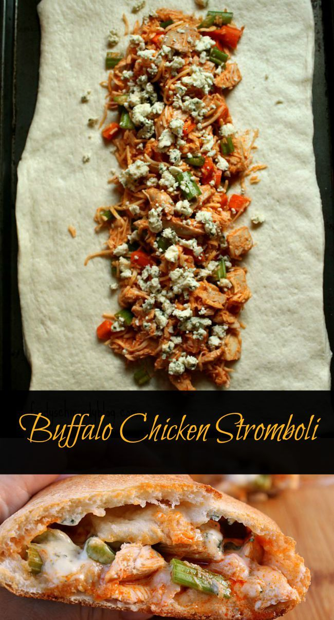 This Buffalo Chicken Stromboli comes together in under 30 minutes making it a quick weeknight meal but it also serves up as the perfect game day appetizer!  Using rotisserie chicken is a huge time saver!  Recipe by foodyschmoodyblog.com