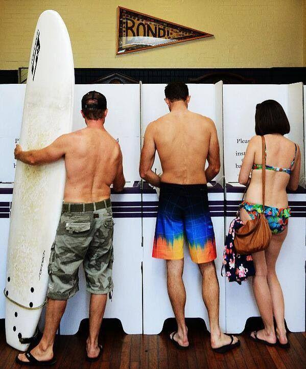 Australian style democracy - Aussies at Bondi Beach casting their votes for the 2013 elections #Australia