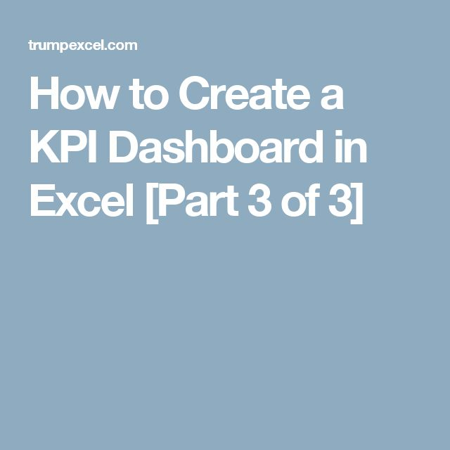 How to Create a KPI Dashboard in Excel [Part 3 of 3]