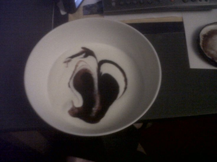 home made yoghurt and blackcurrant coulis - delish - reminds me of a Gerald Scarfe drawing