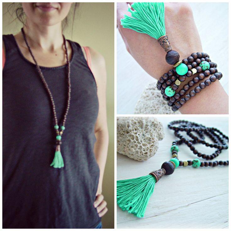 Yoga Mala Necklace Mala Necklace Yoga Jewelry by HandcraftedYoga