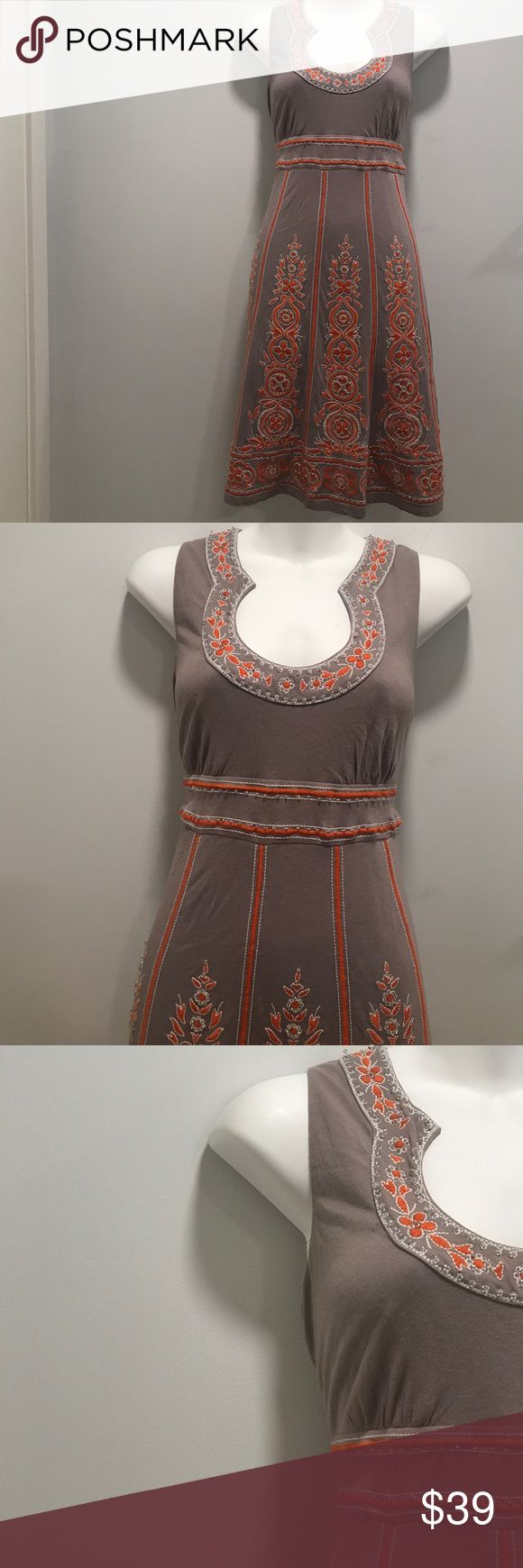 INC GREY AND ORANGE SEQUIN DRESS- size S This embroidery beautiful dress  is lined and perfect for summer! Beautiful neckline with rhinestone like jewels on the front side. So... beautiful! Shoulder to hem is about 37 in., bust is 34-38 in. (Stretches), waist is 30-32 in. (Stretches) INC International Concepts Dresses Midi