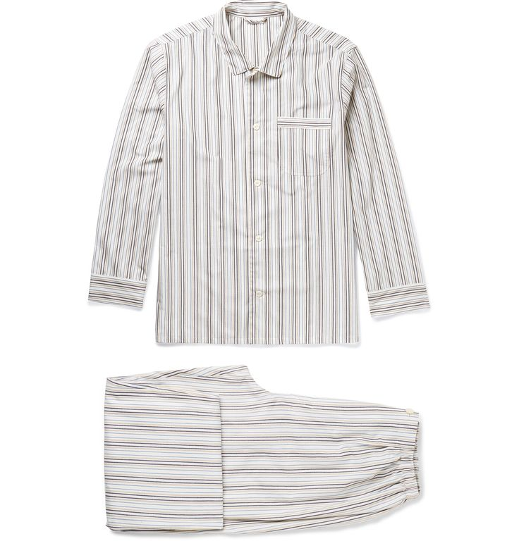 An ode to the classic lounge style,<a href='http://www.mrporter.com/mens/Designers/Schiesser'>Schiesser</a>'s pyjama set is cut in a relaxed fit and printed with beige and tonal-blue stripes. The smooth cotton fabric is airy and comfortable - ideal for wearing through a night's sleep and when reading the Sunday paper in the morning.