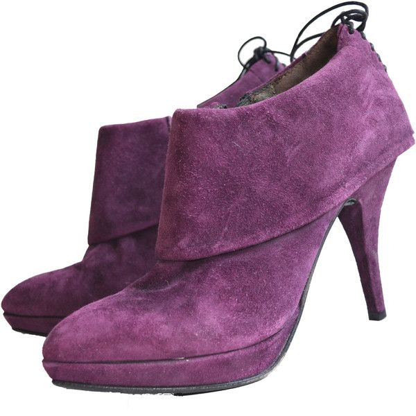 Latitude Femme Purple Suede Booties (160 CAD) ❤ liked on Polyvore featuring shoes, boots, ankle booties, purple, suede bootie, short boots, ankle boots, suede ankle boots and platform boots