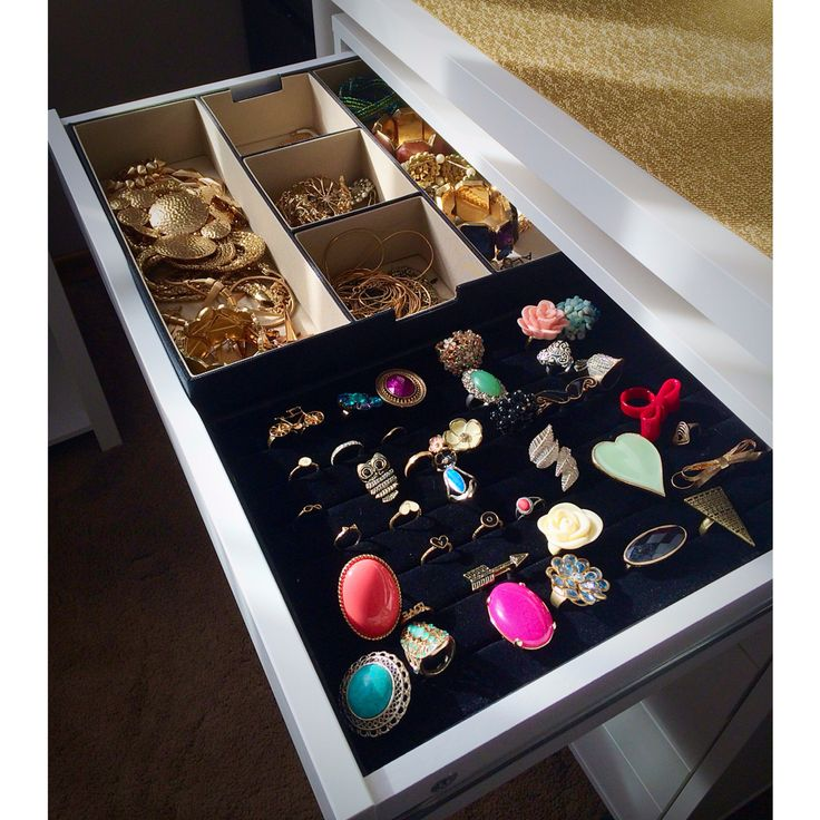 Jewelry organization. Ring holder from michaels. Draw from ikea.