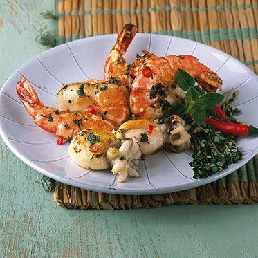 Scharfe Tintenfischchen und Garnelen Rezept | Küchengötter