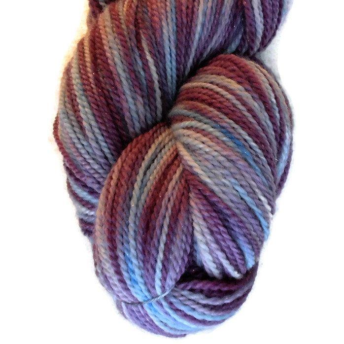 "Merino Glitter Luxury Sock Yarn Purple and Blue- Hand Dyed ""Summer"", 2-ply Sock Yarn, Purple, Blue Yarn- Handdyed Sock Yarn - EU SELLER"