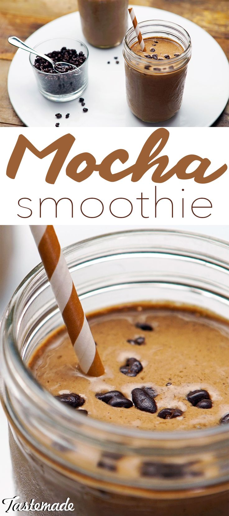 With chia seeds and cocao nibs, this frozen coffee drink is not only tasty, but healthy too.