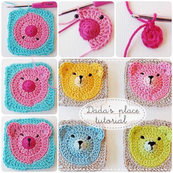 Crochet Teddy Bear Granny Square Baby Blanket -