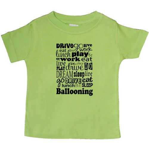 Inktastic Ballooning Quote Gift Baby T-Shirt Ballooner Hobby Hobbies Eat Sleep Balloonist Balloon T-shirt Infant Tees Shower Clothing Apparel Hws, Infant Boy's, Size: 6 Months, Green