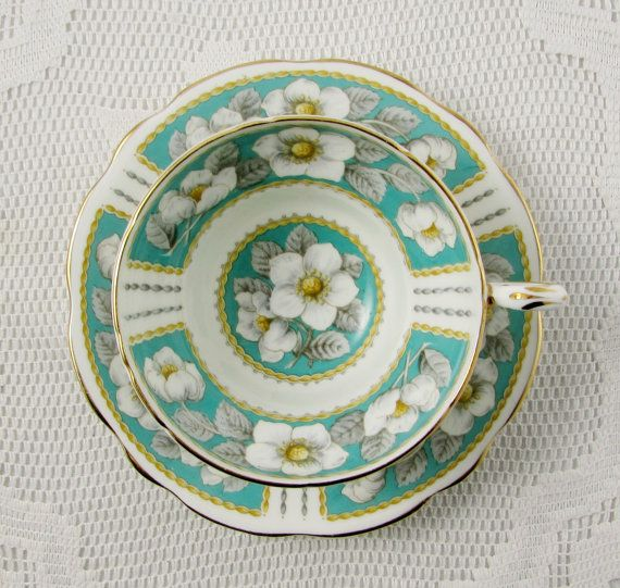 "Foley ""Christmas Rose"" Tea Cup and Saucer, Bone China, Green Tea Cup, English Bone China"