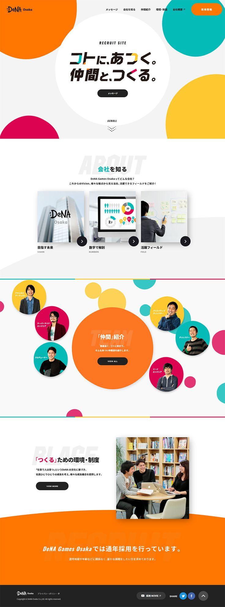 株式会社DeNA Games Osaka 採用サイト【求人関連関連】のLPデザイン。WEBデザイナーさん必見!ランディングページのデザイン参考に(にぎやか系)