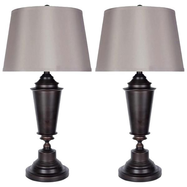 Oil Rubbed Bronze 2 Piece Table Lamps Set With Silk Shade In 2021 Table Lamp Sets Table Lamp Lamp