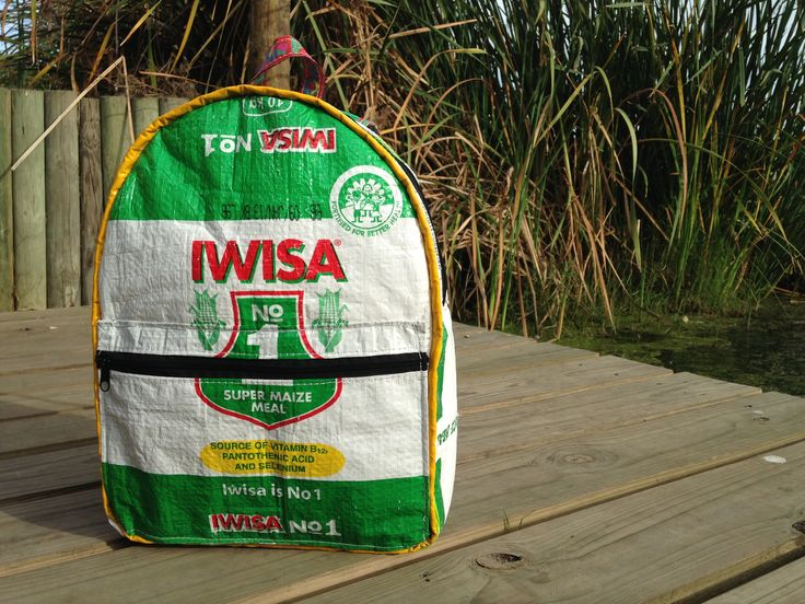 """Iwisa No1. Backpack made by Tabitha @ Waste Design. Taken at """"the office""""  Intaka Island, Century City, Cape Town"""