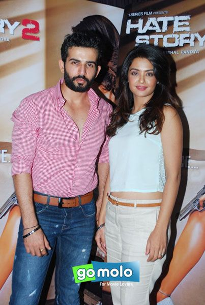 Jay Bhanushali & Surveen Chawla at the Promotion of Hindi movie 'Hate Story 2' at T-Series office in Mumbai