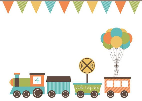 Train Birthday Printable Party Set di sweetmadygifts su Etsy