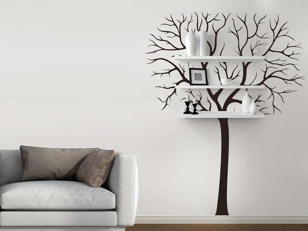 Baum mit Regalbrettern, so einfach gehts. <3 Werdet zum DIY-Profil mit dem Wandtattoo Baum mit Regal