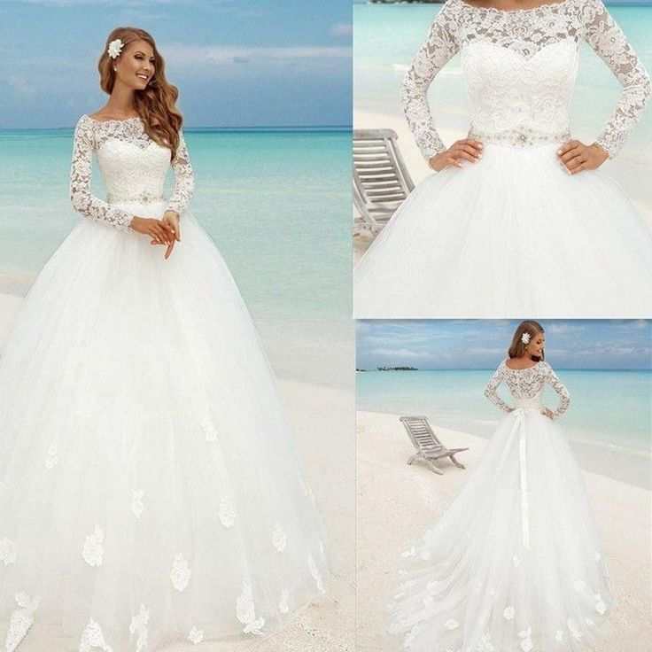 Beautiful New White ivory Wedding Dress Bridal Gown Custom size