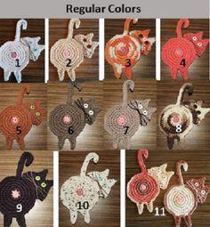 Peeking Cat Butt Coaster – Upper Crust Crochet