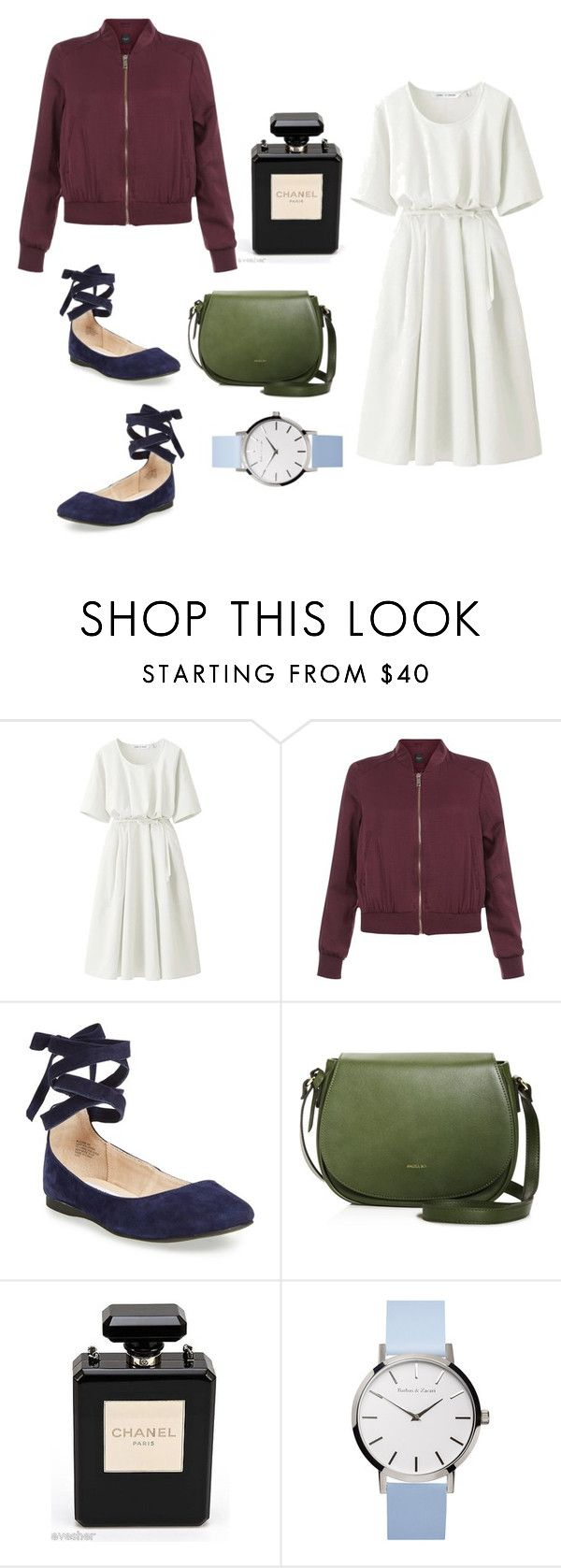 """Semi-formal outfit with perfume"" by haeyeon-song ❤ liked on Polyvore featuring Uniqlo, New Look, Steve Madden and Chanel"