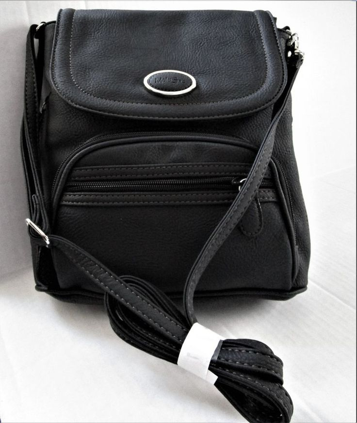 MultiSac Crossbody Backpack Black Pebble Faux Leather 3 In 1 Convertible NEW #MultiSac #BackpackCrossbody