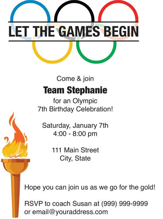 This invitation can be formatted for your Olympic party! This is a 5x7 Invite.  Follow these simple steps to make this card yours!  1. Purchase the card. Please let me know if you would like 2 up pdf or 1 up jpg of the file when ordering.  2. E-mail the photos & text you would like included on the design to susancdesigns [!at] gmail.com.  3. I will reply with your proof within 24-48 hours (usually less). Orders placed on weekends (Friday-Sunday) may not be ready until Monday.  4. Print the…