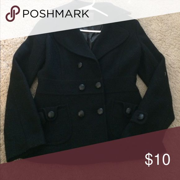Forever 21 black pea coat Black pea coat in great condition, but missing one button on top. Forever 21 Jackets & Coats Pea Coats
