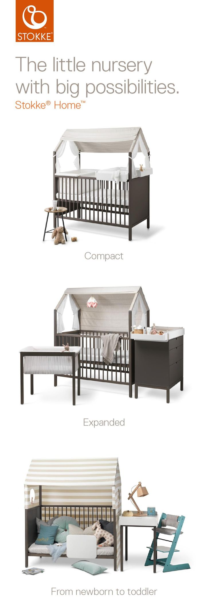 Stokke Home: The Modern & Modular Scandinavian Nursery that Grows with Your Child! Available in Hazy Grey and White