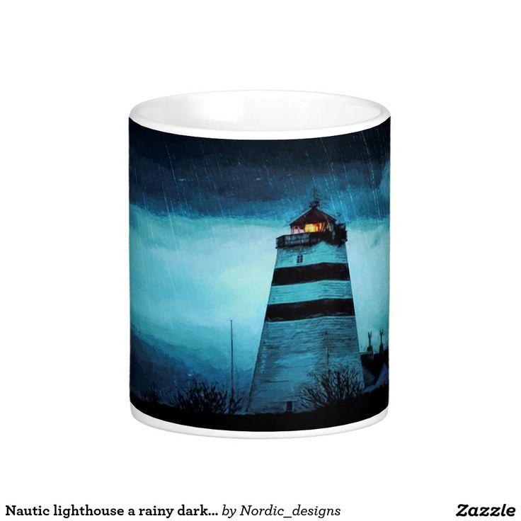 Nautic lighthouse a rainy dark night coffee mug