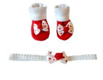 Pusat Pola Sepatu Bayi - Red Polka Dots Booties dan Headband | Pusat Sepatu Bayi Terbesar dan Terlengkap Se indonesia