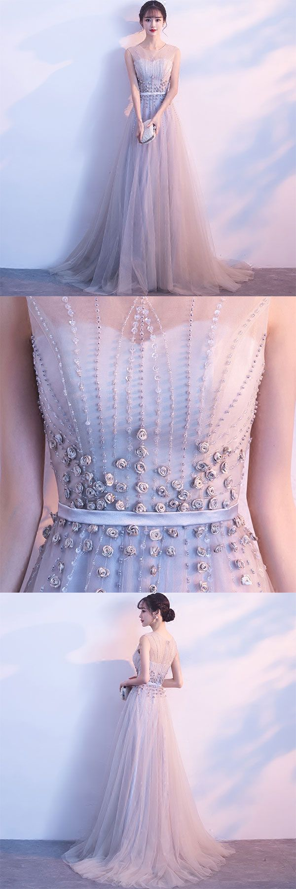 of girl | Gray tulle lace long prom dress, lace evening dress | Online Store Powered by Storenvy