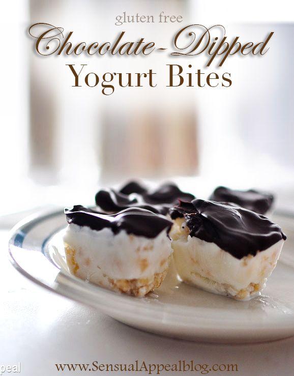 Chocolate Dipped Yoghurt Bites. Healthy dessert options.