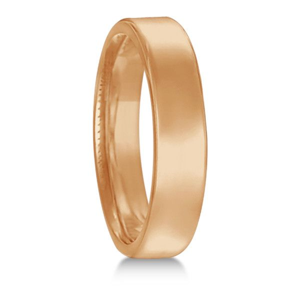 Allurez Euro Dome Comfort Fit Wedding Ring Band 18k Rose Gold (4mm) ($600) ❤ liked on Polyvore featuring jewelry, rings, pink gold rings, wedding rings, rose gold rings, wide band wedding rings and dome ring