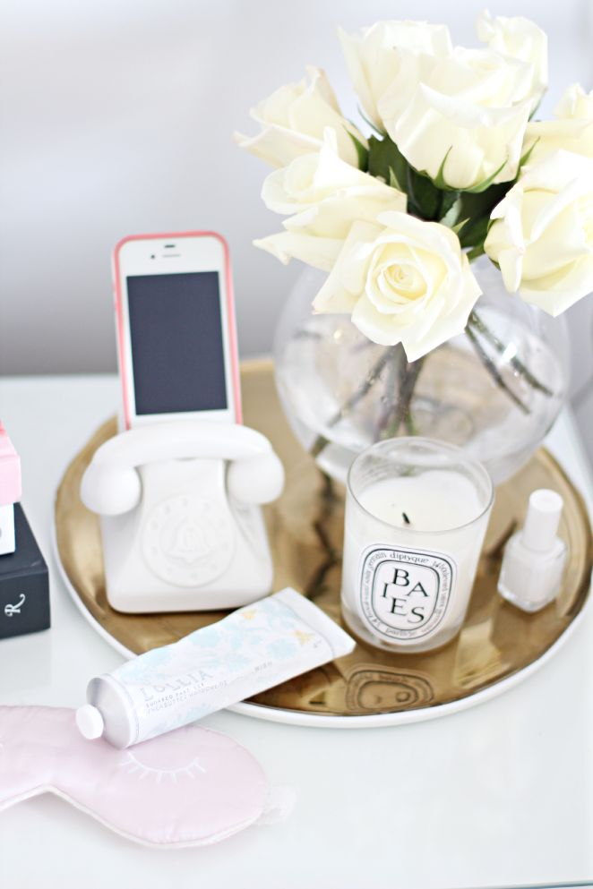 Jonathan Adler iPhone Dock, Flowers, Diptyque Candle, Lollia Handcreme, Sleeping Mask + Gold Tray: Bedside Essentials