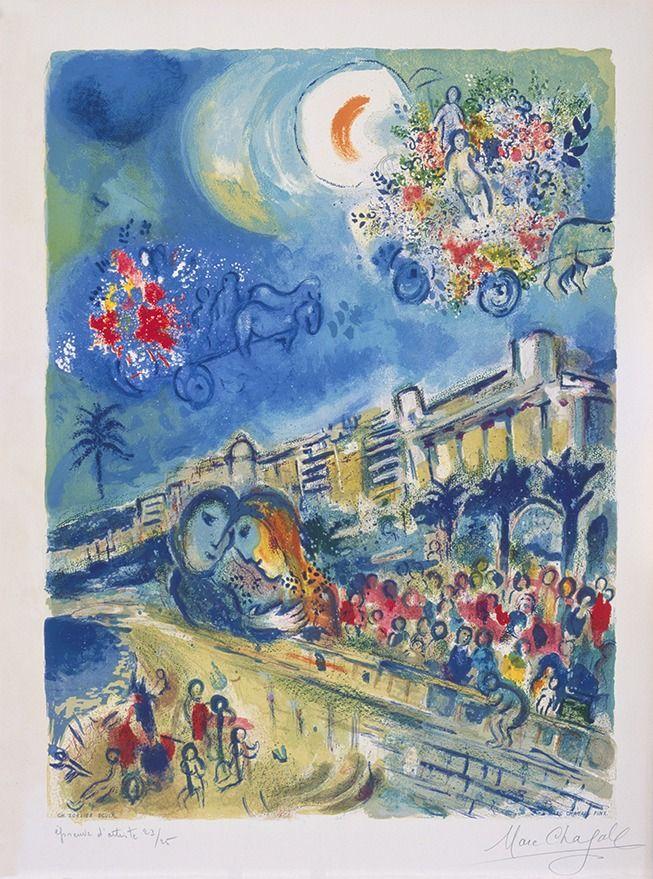 Marc Chagall, le Niçois:  Marc Chagall, Bataille de fleurs, 1967, lithographie, 62,2 x 46 cm (Collection particulière).