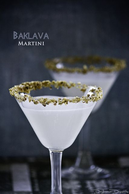 Baklava Martini (•2 ounces hazelnut liqueur •2 ounces honey liqueur •4 ounces half-half •¼ teaspoon orange blossom water) #famfinder