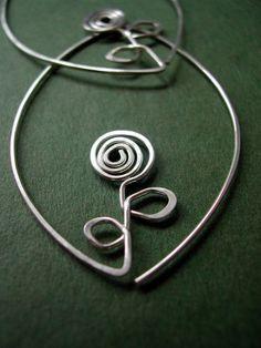 Sterling Leafy Hoops FLOWER silver oval earrings by maryandjane