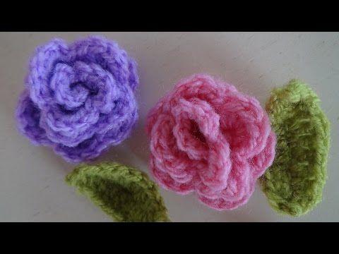Τριαντάφυλλα πλεκτά με βελονάκι, πανέμορφα και εύκολα! - YouTube
