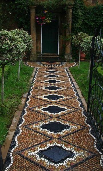 rock mosaics for garden | Garden Decor: Amazing river stone mosaic path | A Gardener's Notebook