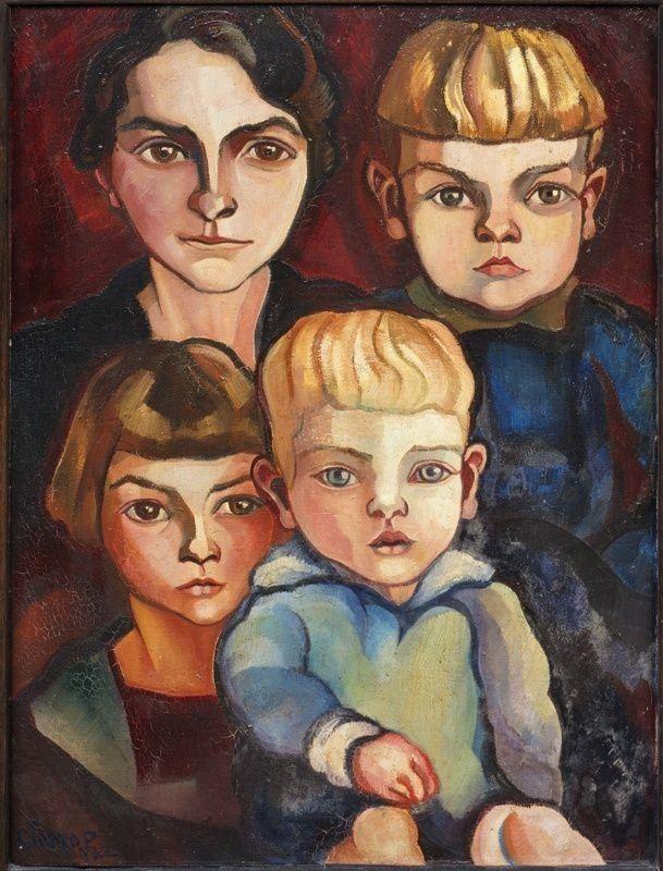 Portret van mevrouw D. van Ravesteyn en haar drie kinderen, 1922, Centraal Museu… – Art is the voice of the heart