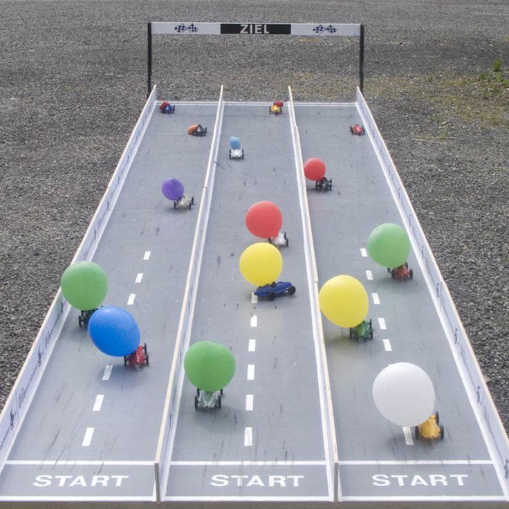 Balloon car race track