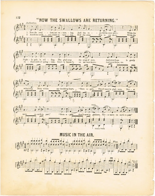 Spring & Summer Antique Sheet Music - Free Printable Graphics from KnickofTime.net