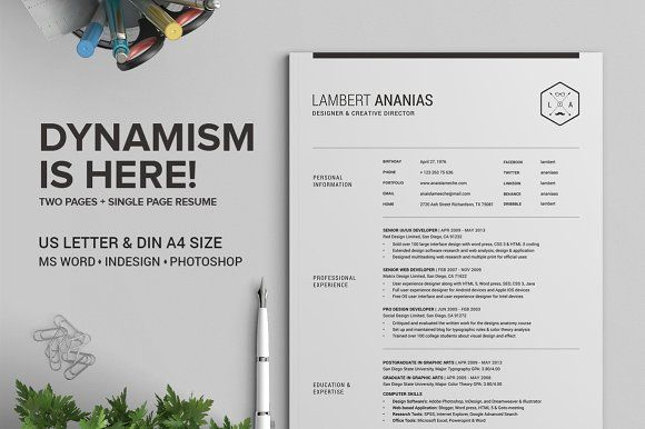 2 Pages Resume CV Pack - Lambert by SNIPESCIENTIST on @creativemarket