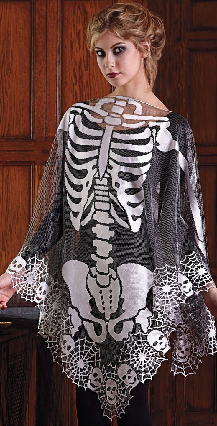 Drape our Skeleton Poncho over a simple black outfit, and you have an instant costume. (And a slimming one, at that!)