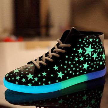 Unisex Night Light Up Sneakers Hip-Hop Dancer High-top Lace Up Casual luminous S - US$31.07