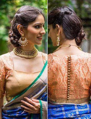 Peach And Gold Brocade Blouse For Pattu Saree