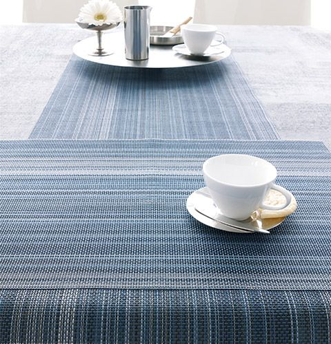 Chilewich   Rectangle Placemats And Runner In Chambray Multi Stripe