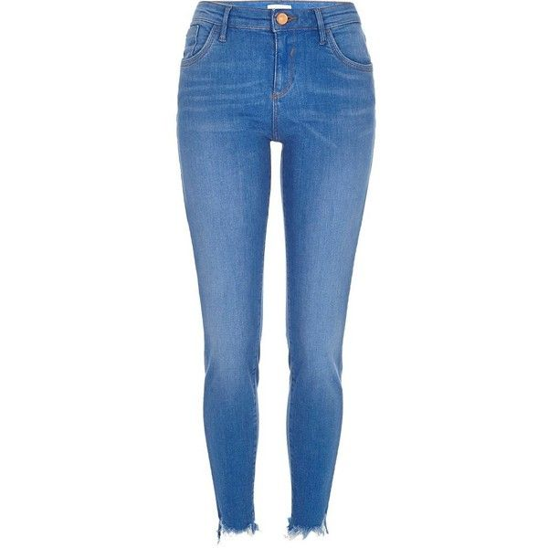 River Island Bright ripped hem Amelie superskinny jeans ($84) ❤ liked on Polyvore featuring jeans, pants, skinny jeans, women, destroyed denim skinny jeans, bright blue jeans, tall jeans and destroyed skinny jeans