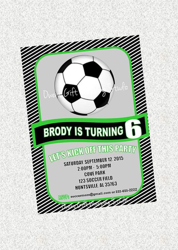 Soccer Party Invitation Boys Soccer Party by OwensGiftWrapping