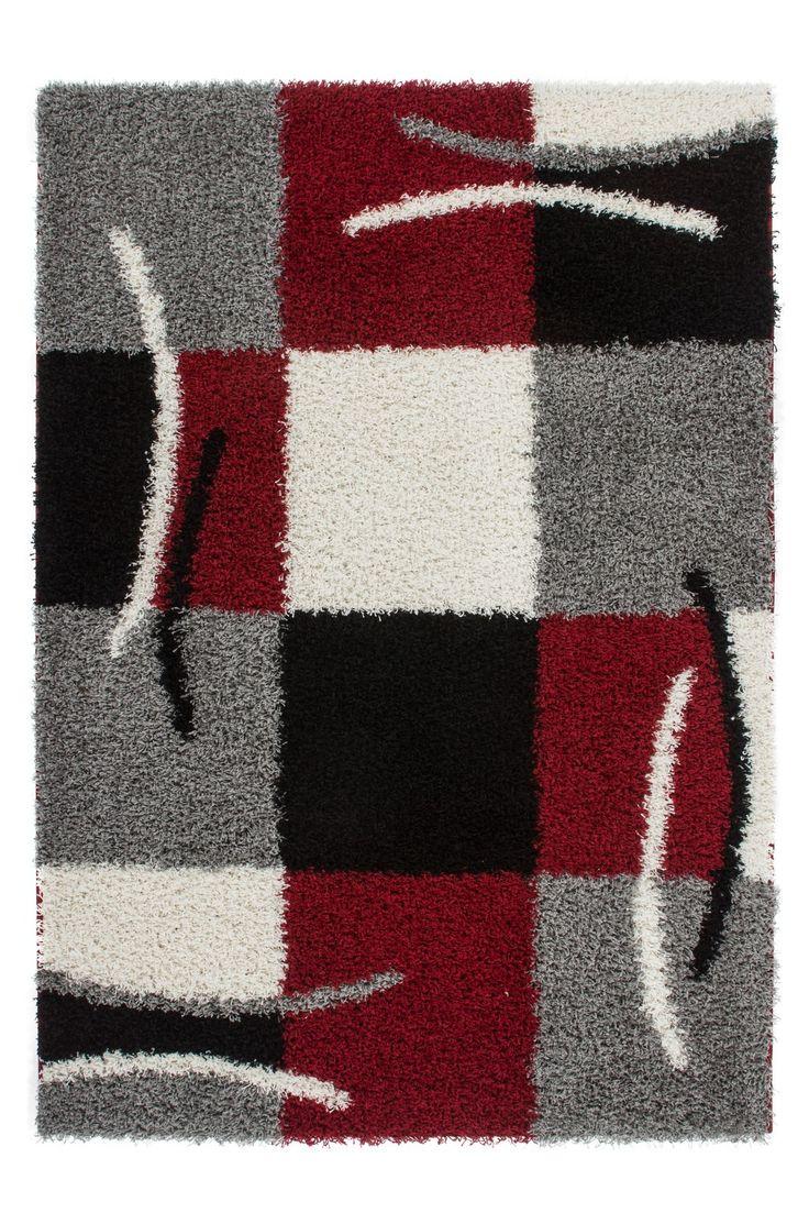 tapis shaggy rouge au design contemporain wwwtapis decofr